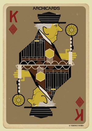 Frank Lloyd-Wright portrayed in one of Federico Babina's Archicards