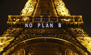 """The slogan """"No Plan B"""" is projected onto the Eiffel Tower as part of the United Nations Climate Change Conference in Paris."""