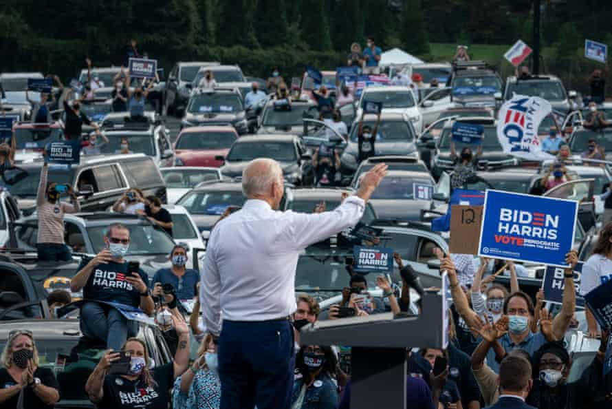 Joe Biden waves to supporters as he finishes speaking during a drive-in campaign rally in Atlanta last week.