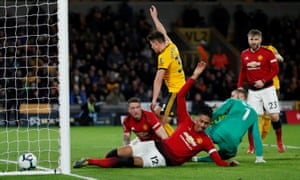Chris Smalling scores an own goal and the second for Wolverhampton Wanderers.
