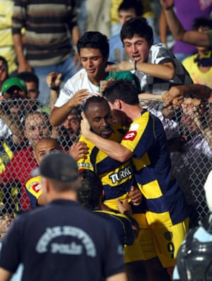 Darius Vassell celebrates scoring against Manisaspor.