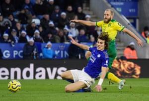 Norwich City's Teemu Pukki fires home to open the scoring.