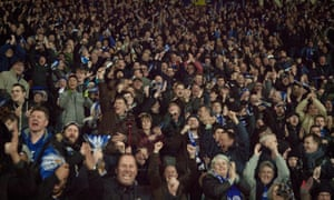 Leicester City fans celebrate Danny Drinkwater's goal against West Bromwich Albion.