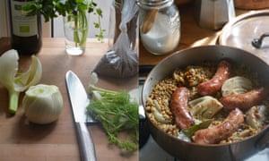 Sausage and lentil stew.