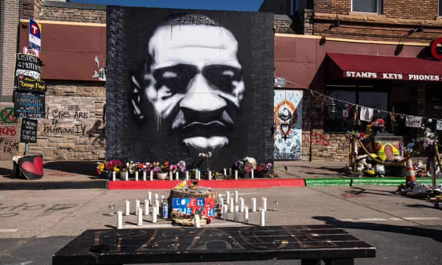 The George Floyd Memorial at the site where he died outside Cup Foods at East 38th Street and Chicago Avenue in Minneapolis.