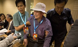 Former forced labourer Yan Yucheng, 87, attends the announcement of a settlement with Mitsubishi Materials in Beijing on Wednesday.