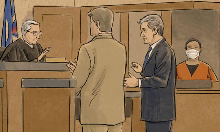In this courtroom sketch, former Minneapolis police officer Tou Thao, right, watches as his defense attorney, Robert Paule, second from right, and Prosecutor Matthew Frank stand before Judge Peter Cahill in Minneapolis on Monday.