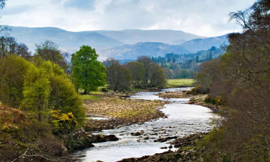 River Carron with rocky banks between Ardgay and Amatnatua Sutherland Scotland