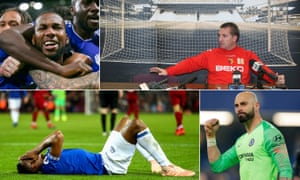 Clockwise from top left: Cardiff's Junior Hoilett, Brendan Rodgers addresses the media while Watford manager, Chelsea keeper Willy Caballero, and Yerry Mina after the last Merseyside derby.