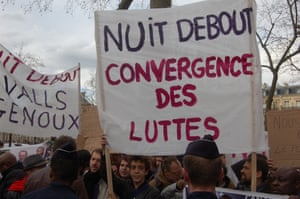Day five of the protest in Paris. The phrase convergence des luttes express solidarity with other causes.