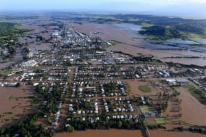 The flooded central business district in Lismore