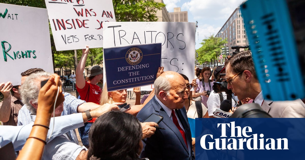 Protesters disrupt Republican politicians' press conference in support of Capitol rioters – video
