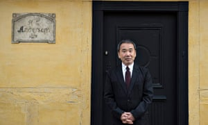 'A fitting heir' … Haruki Murakami outside Hans Christian Andersen's house in Odense, Denmark.