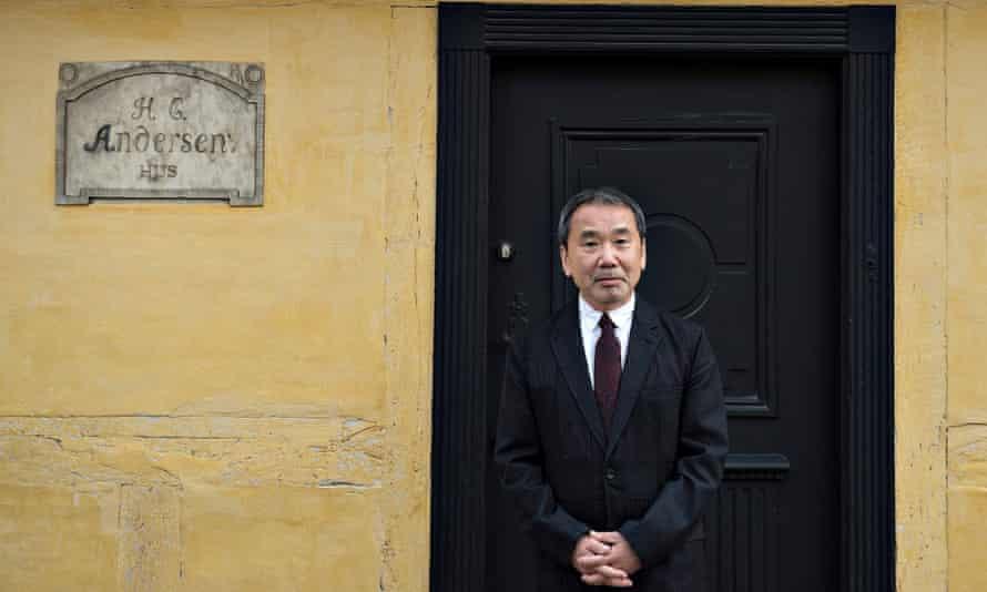 'A fitting heir' … Haruki Murakami outside Hans Christian Andersen's house in Odense, Denmark.