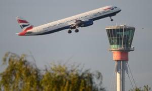 A BA flight takes off from Heathrow