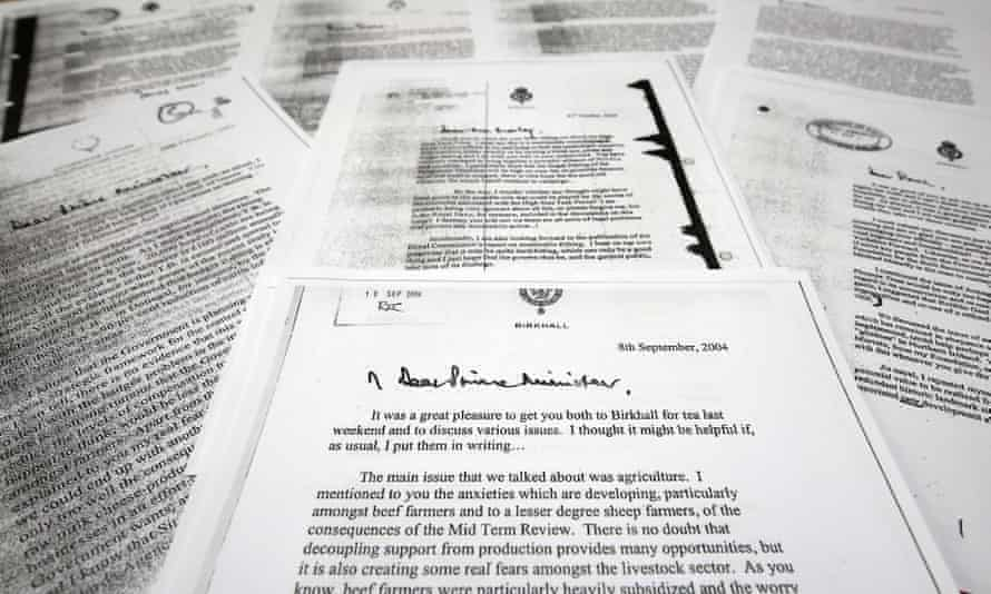 A copy of the letter that the Prince of Wales wrote to the Tony Blair when he was PM, one of a series of private letters to government.