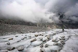 A man walks on the Mer de Glace in Chamonix