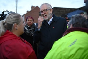 Jeremy Corbyn meets residents affected by floods in Doncaster on November 12.