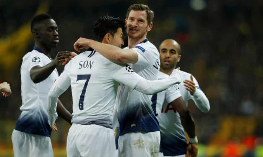 Son Heung-min celebrates with Jan Vertonghen (right) after opening the scoring for Tottenham against Borussia Dortmund at Wembley.