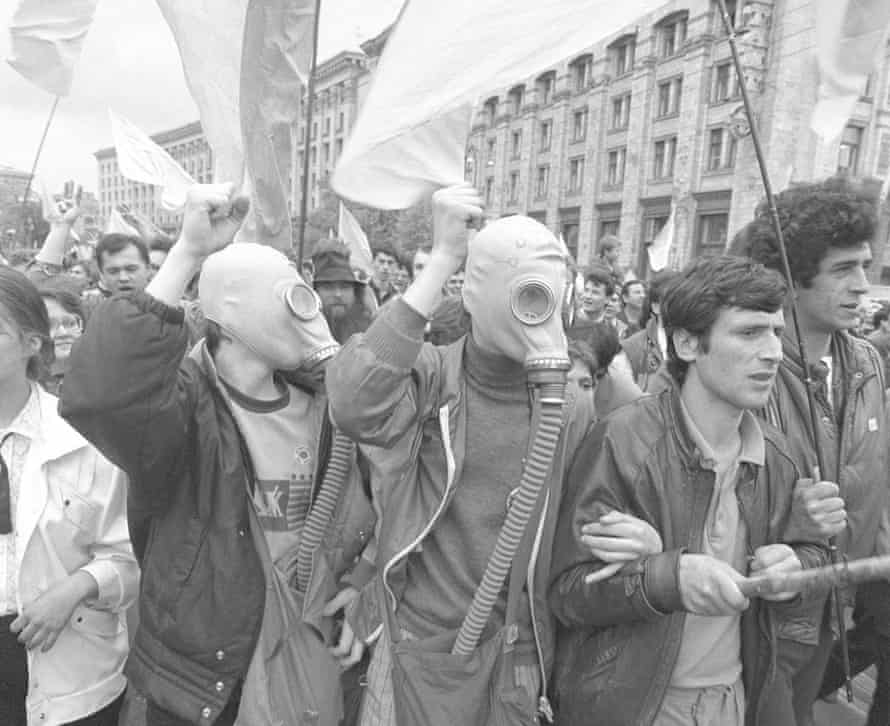 Ukrainians protest against the cover-up of the consequences of the Chernobyl accident, April 1990.