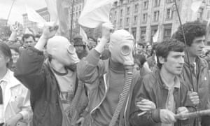 From Chernobyl: History of a Tragedy … Ukrainians protesting at the cover-up of the consequences of the Chernobyl accident and demanding independence in April 1990.