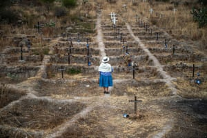 Adelina Garcia, 58, at La Hoyada, where crosses with the names of the victims of forced disappearances, where the remains of two cement kilns that served to burn more than 100 people were found