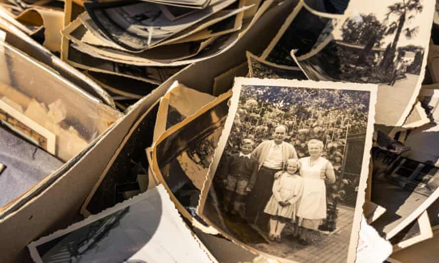old photographs in boxes
