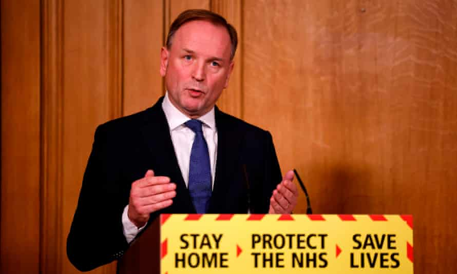 NHS England's chief executive, Simon Stevens, attends a virtual press conference on the Covid pandemic, inside 10 Downing Street.