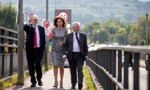 Jeremy Corbyn with Professor Deirdre Heenan (centre) and shadow Northern Ireland secretary Tony Lloyd (right) during a visit to Lifford Bridge on the Irish border