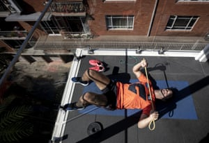 GWS Giants AFL player Tim Taranto trains in isolation at his home in Sydney.