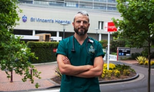 British junior doctor Joe Marwood outside St Vincent's Hospital in Sydney, Australia.