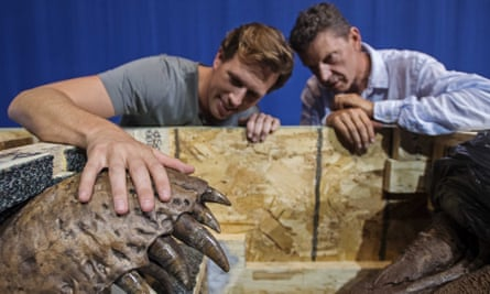 A Tyrannosaurus rex is unpacked in Leidenready to go on display in early September.
