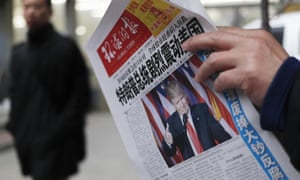 A Chinese newspaper reports Donald Trump's election victory
