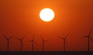The wind turbines of Burbo Bank offshore wind farm in the Irish Sea, near Wallasey, England.