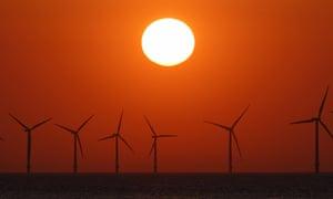Sunset at Burbo Bank Windfarm