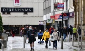 Shoppers wearing face coverings in Blackburn