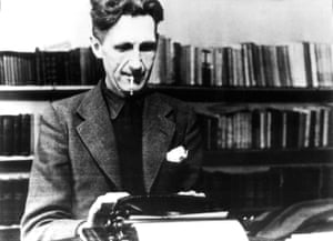 George Orwell at his typewriter in the mid 1940s.