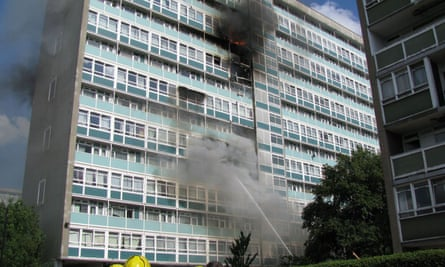 Firefighters attempt to tackle the blaze at Lakanal House in south London in 2009.