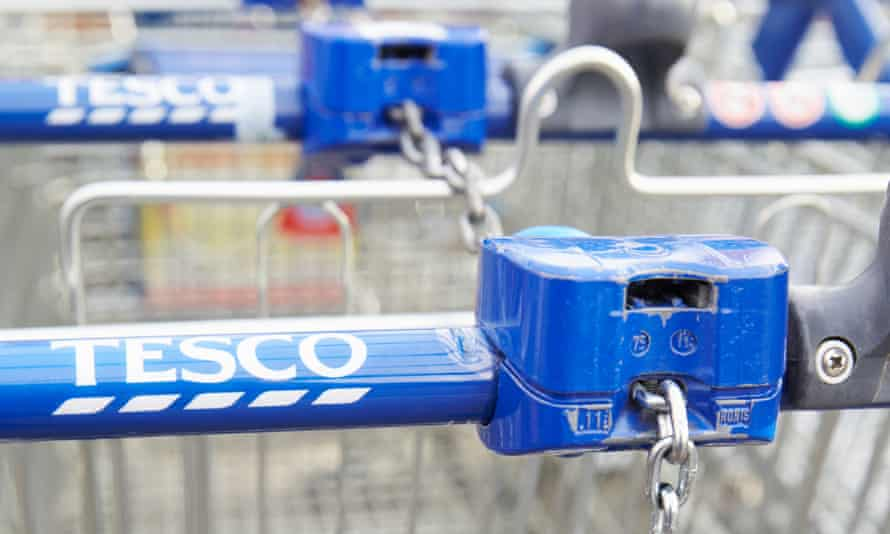 Tesco trolleys at a supermarket