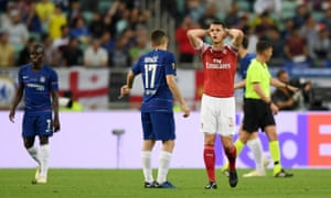 Granit Xhaka of Arsenal reacts after going so close to opening the scoring.