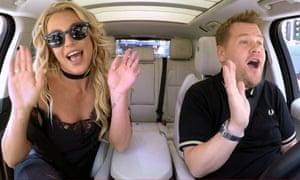 Britney Spears and James Corden doing Carpool Karaoke