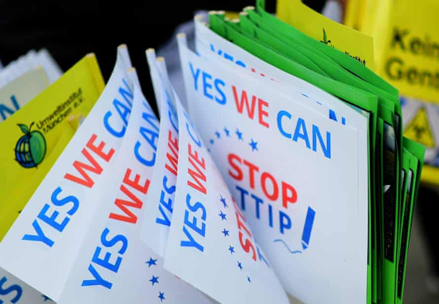 'Yes we can stop TTIP' mini-flags are on display during a rally and demonstration against the TTIP in Hannover, Germany, last weekend.
