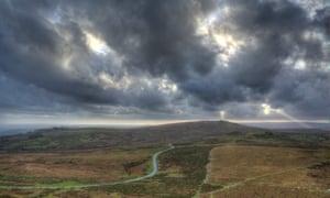 The High RoadThe road to Widecombe-in-the-Moor on Dartmoor taken from Haytor