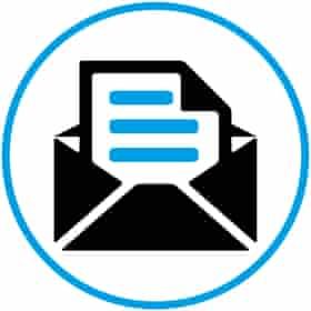 Illustration of envelope in white circle with blue border