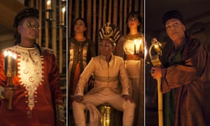 From left: Sarah Niles (Bolingbroke), Ayesha Dharker (Aumerle), Adjoa Andoh (Richard ii), Leila Farzad (Queen) and Doña Croll (John of Gaunt) in Richard II at the Sam Wanamaker Playhouse.
