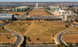 Desire paths are evident in the grounds surrounding the National Congress of Brazil, Brasilia.