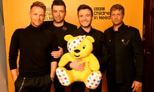 Nicky Byrne, Mark Feehily, Shane Filan and Kian Egan of Westlife backstage at BBC Children in Need 2019