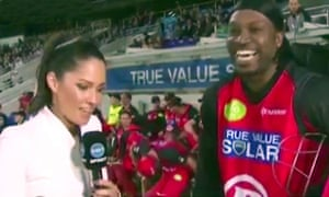 Still from Mel McLaughlin's post-match interview with Chris Gayle