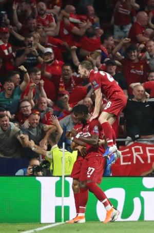 Liverpool's Divock Origi celebrates after scoring the second goal.