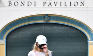 A Bondi resident leaves a Covid-19 testing clinic near Bondi Beach in Sydney, Australia.